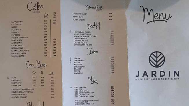 menu jardin cafe bandung